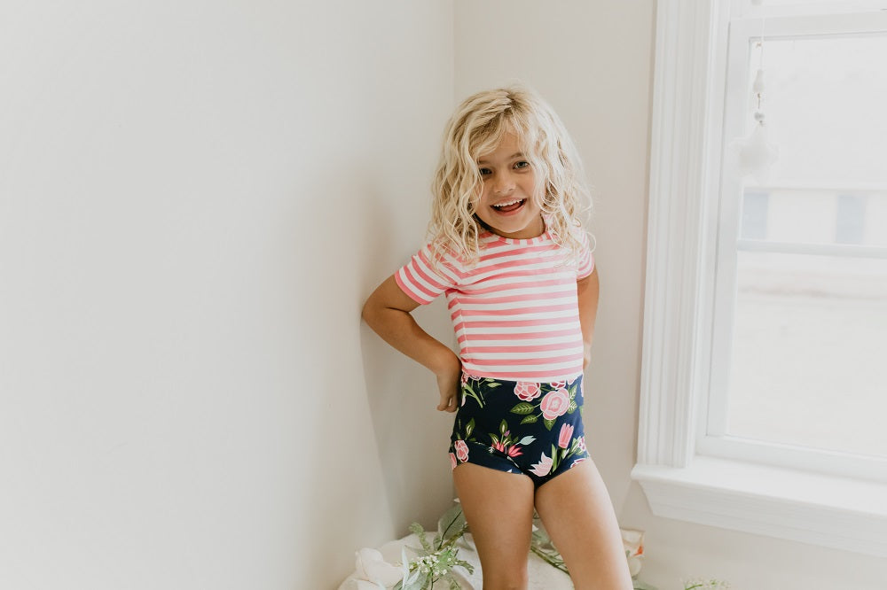 Navy Pink Stripe Floral Leotard