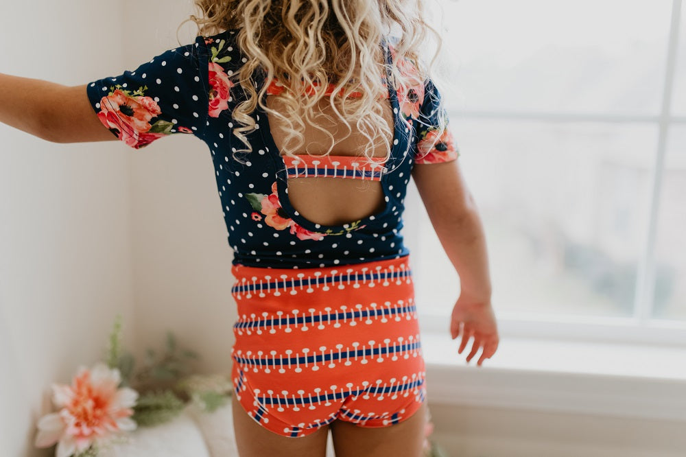 Navy Coral Floral Leotard
