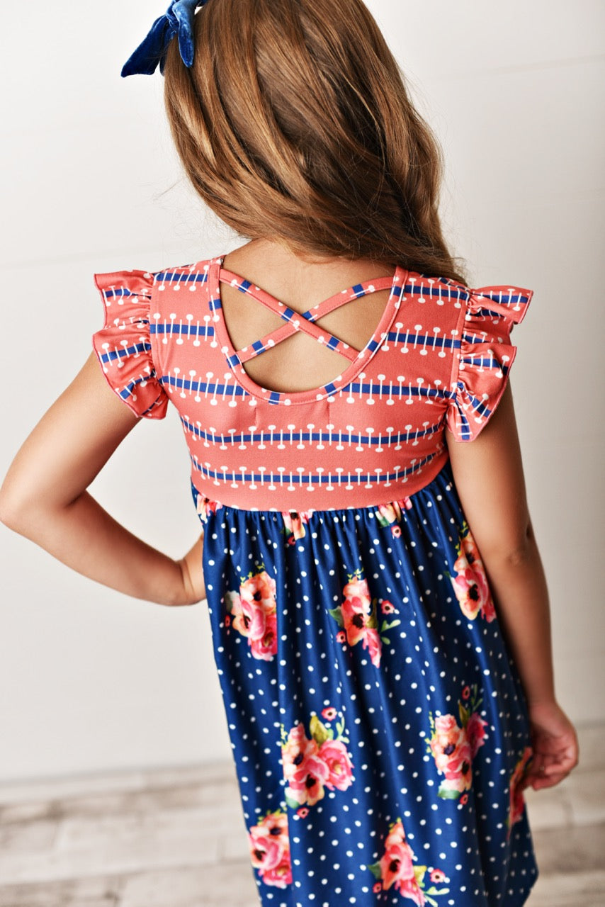 navy floral girls dress