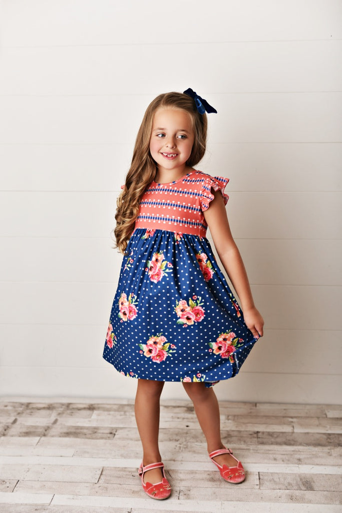 coral floral girls dress