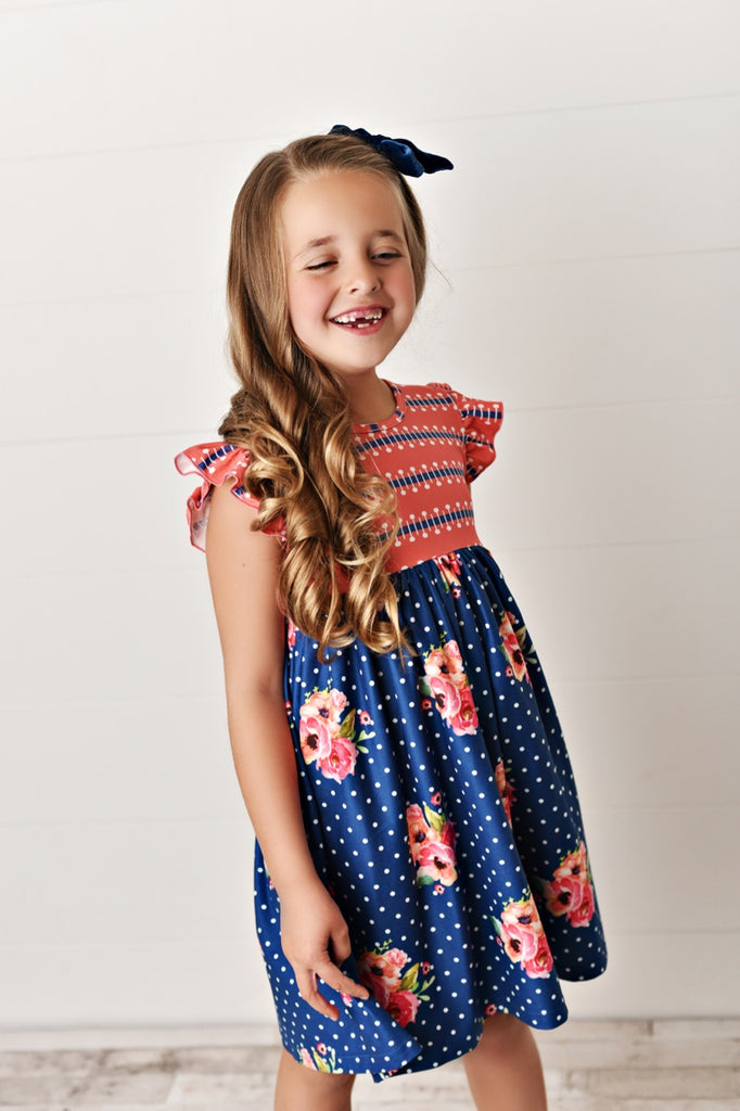 floral twirl girls dress