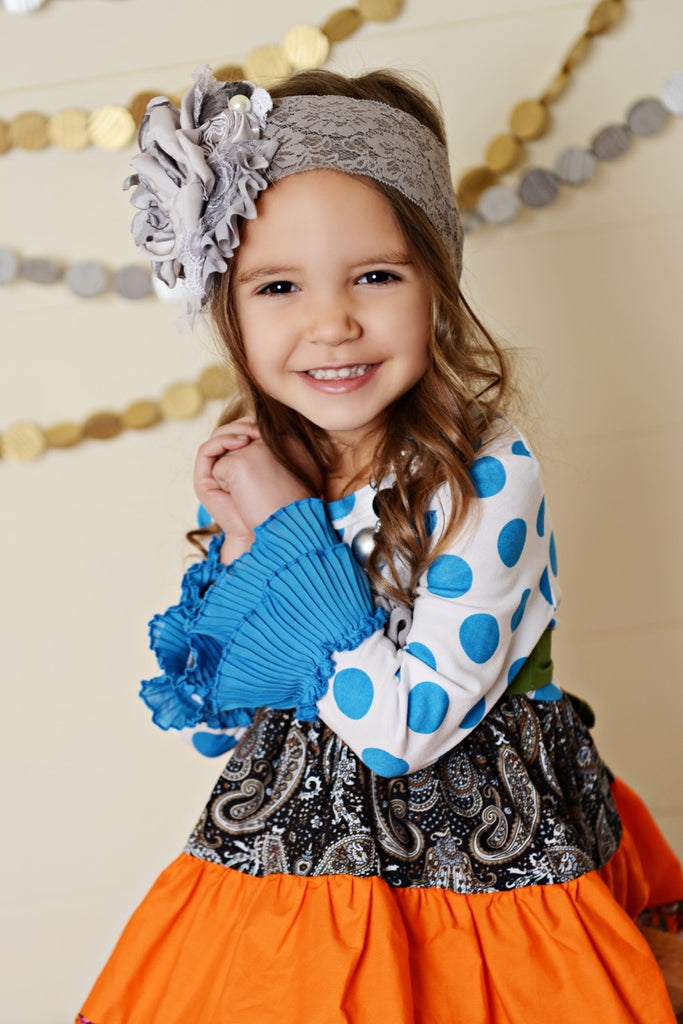 blue polka dot girls dress