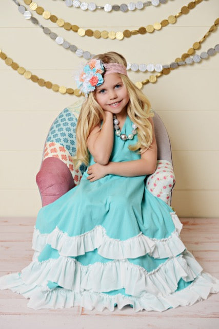 Girls Teal Lace Ruffle Dress Girls Dollcake Frock Dress