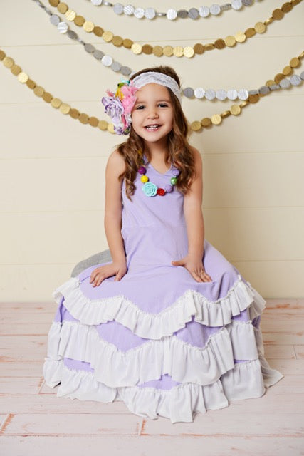 Purple Frock Ruffles Dress