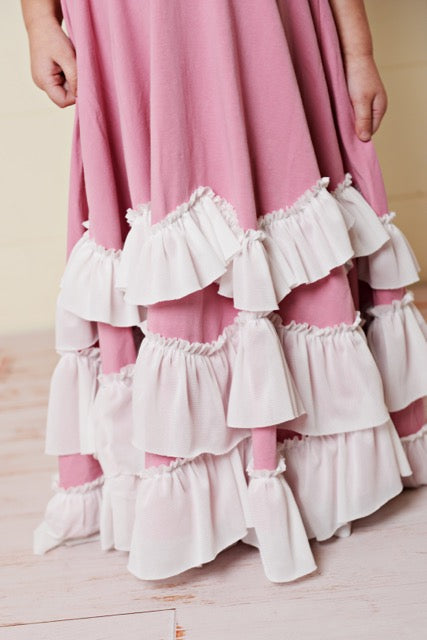 Dusty Pink Frock Ruffles Dress
