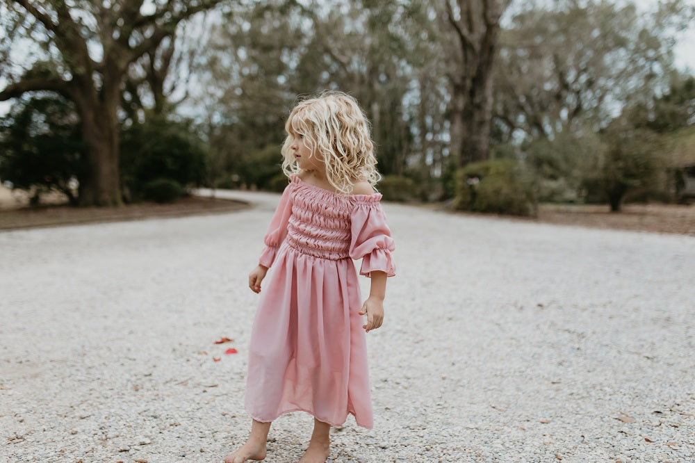 Dusty Pink Shirred Dress