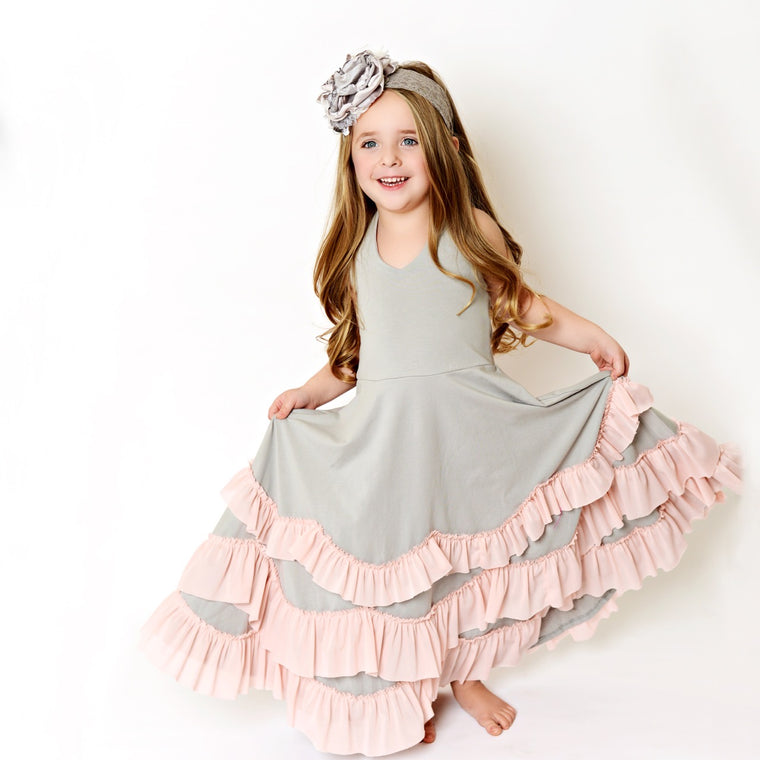gray ruffles dress
