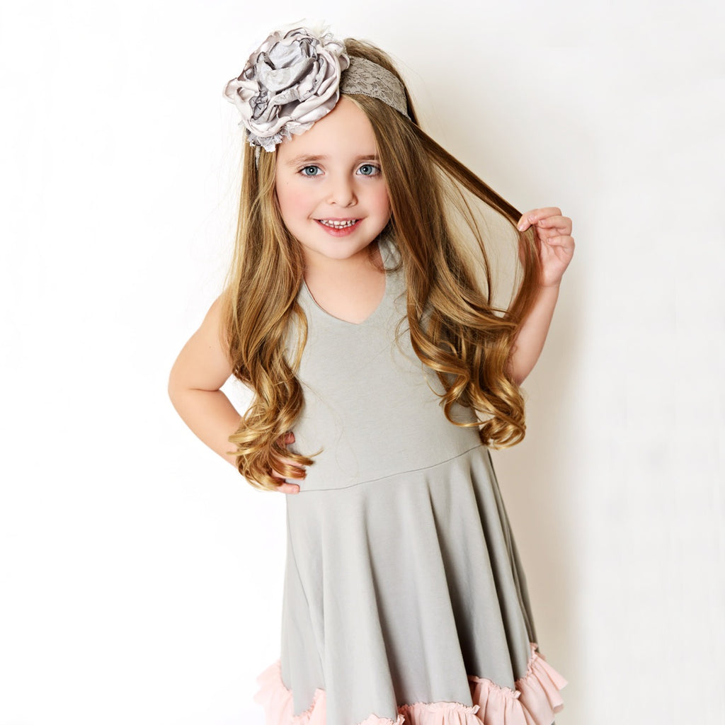 gray/pink ruffles dress