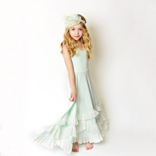 Girls Mint Ruffle Dress