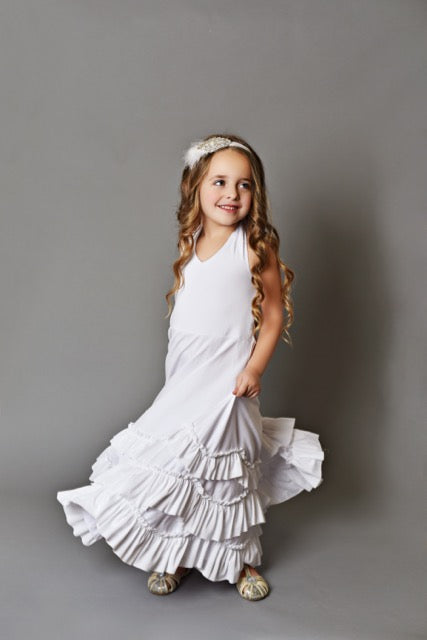 White Frock Ruffles Dress