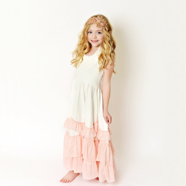 White/Pink Frock Ruffles Dress