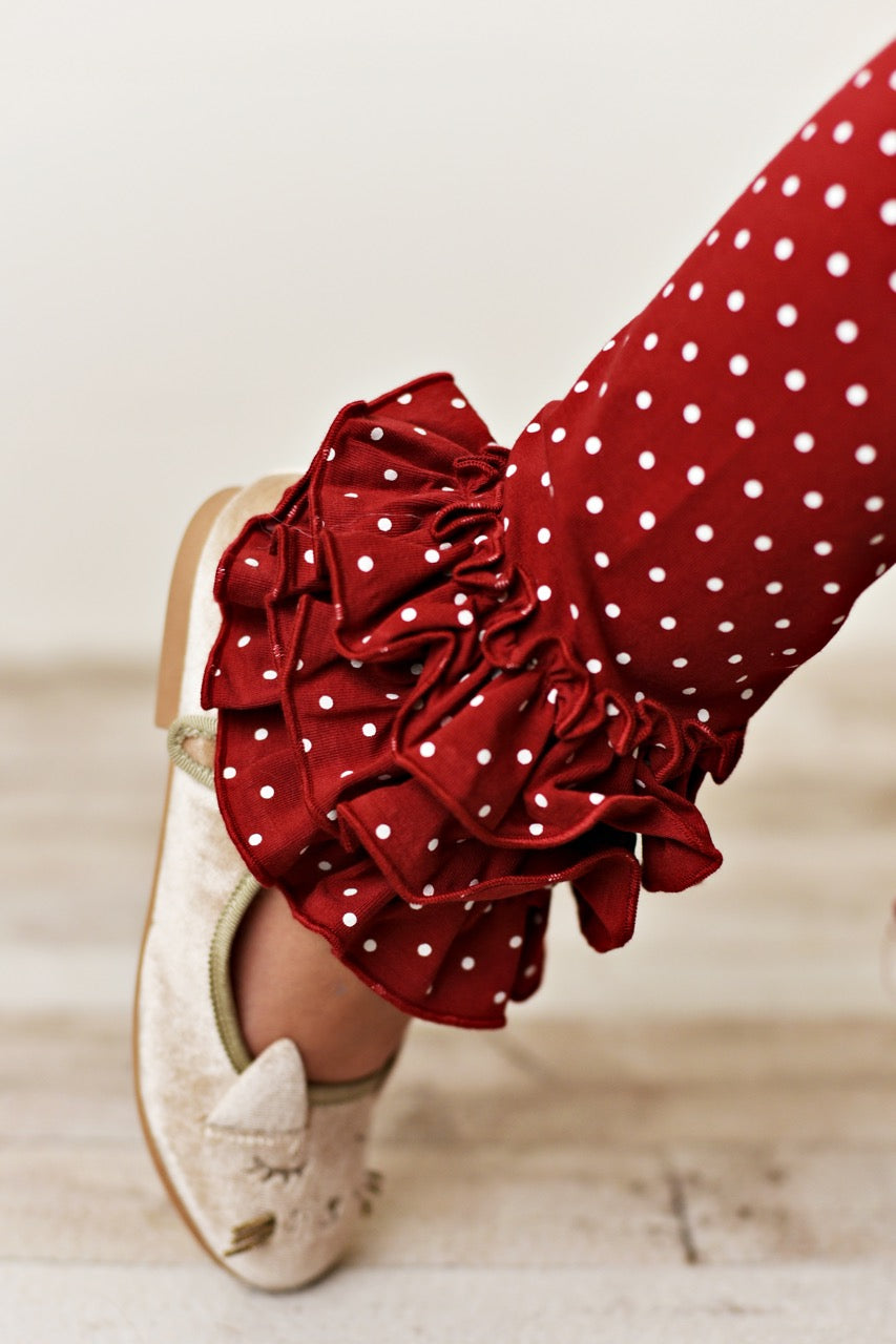 Maroon Pin Dot Leggings