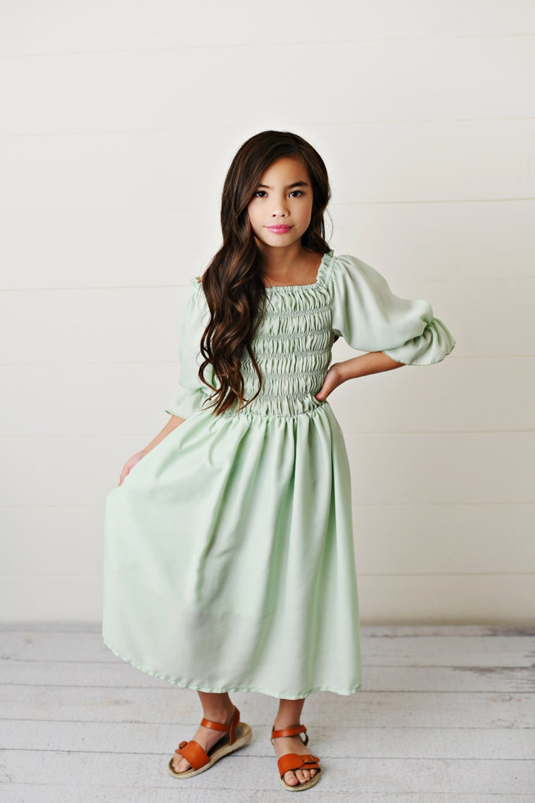 Mint Shirred Dress