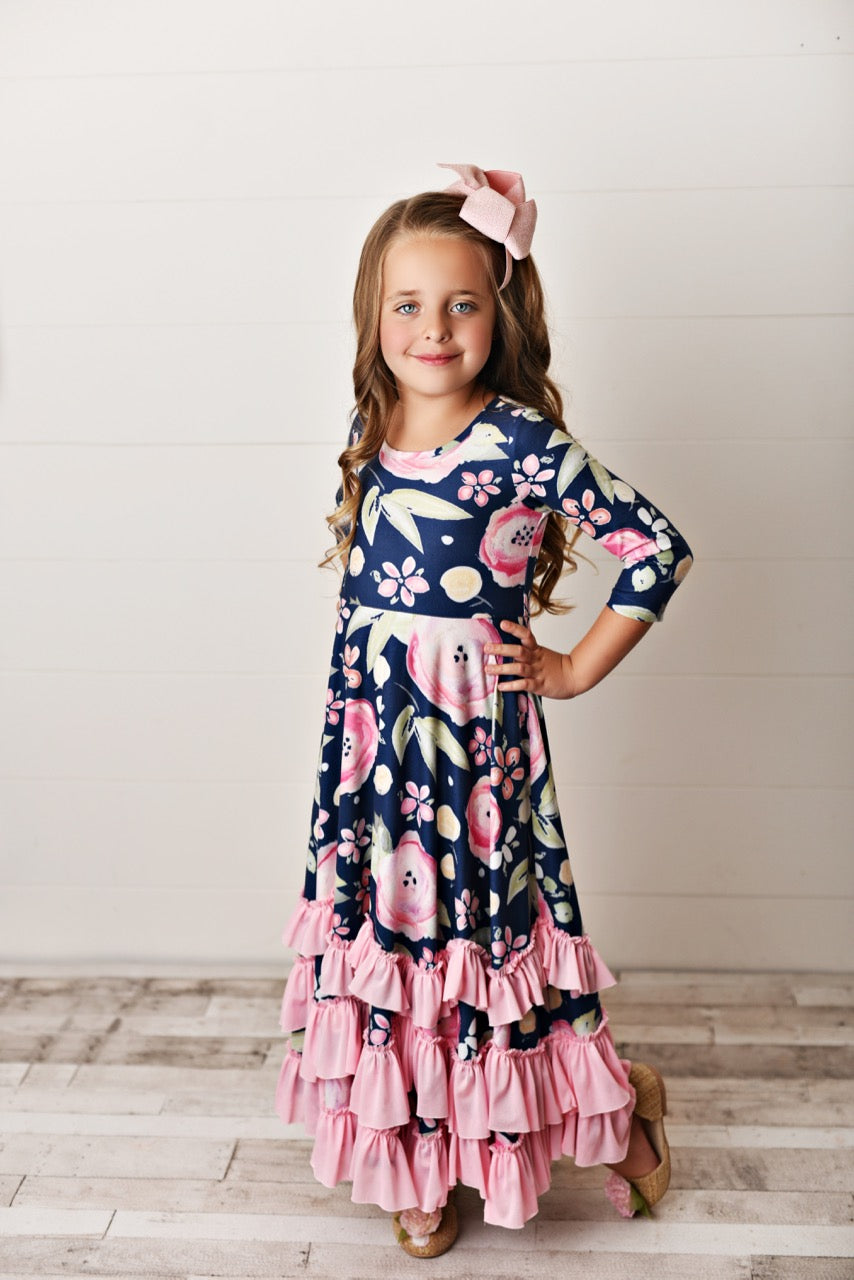Navy Pink ruffle dress