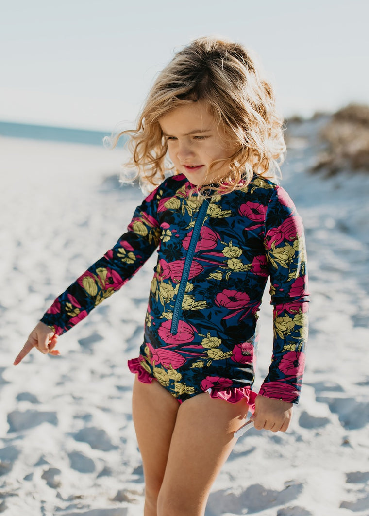 one piece zip up hot pink floral swimsuit