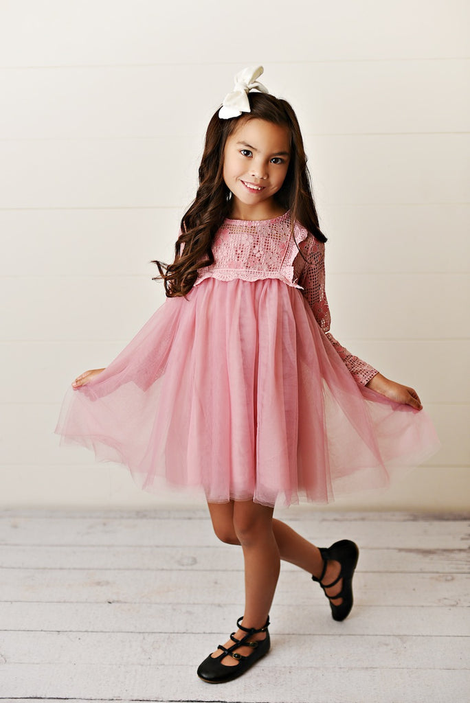 Pink Lace Yolk Dress