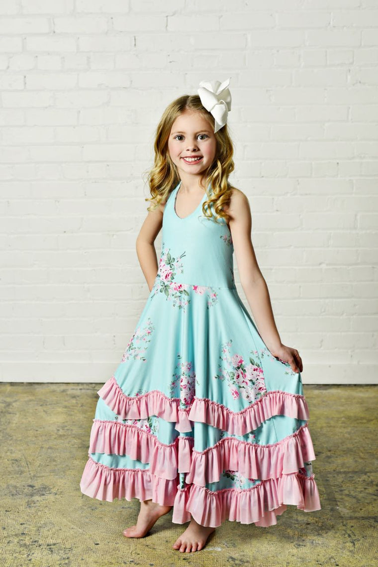 Teal Floral Ruffles Dress