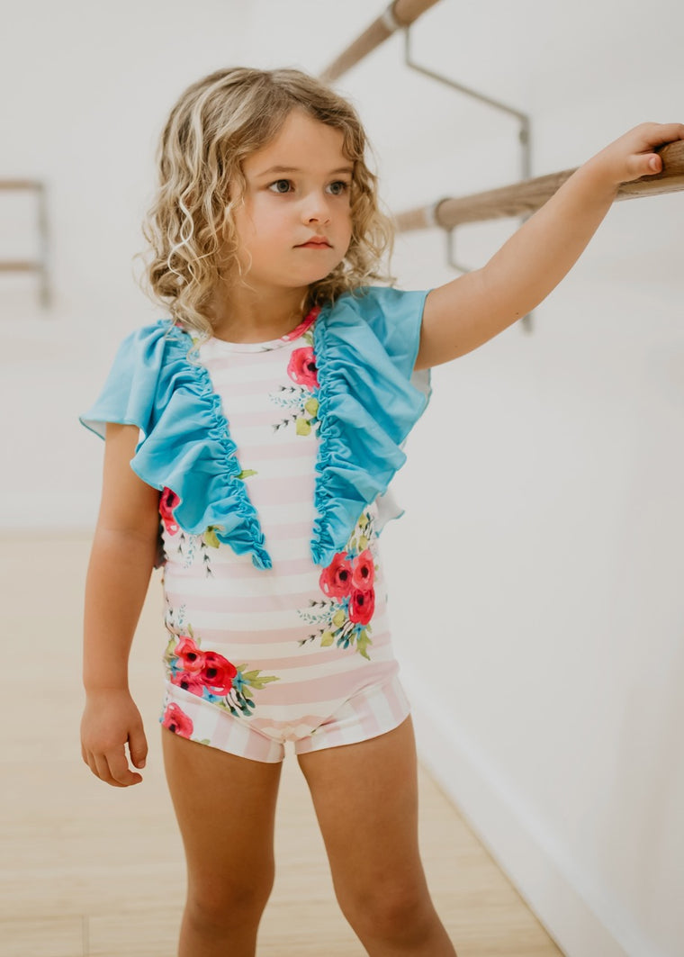 Floral girls leotard