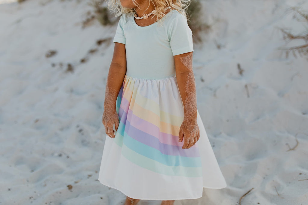 Mint Pastel Rainbow Girls Dress