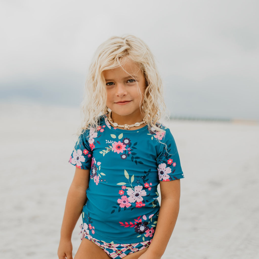 Blue Floral Rash guard Swimsuit