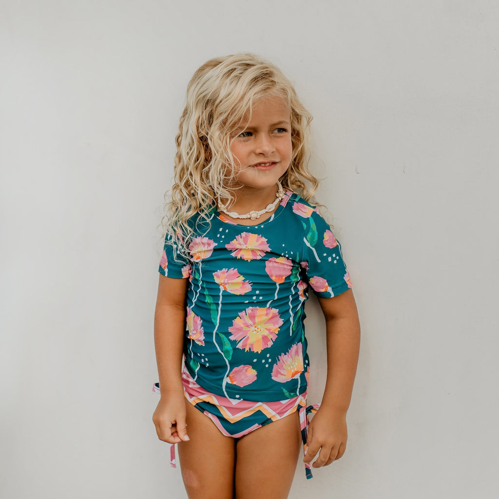 Dark Teal Floral Rash Guard Swimsuit