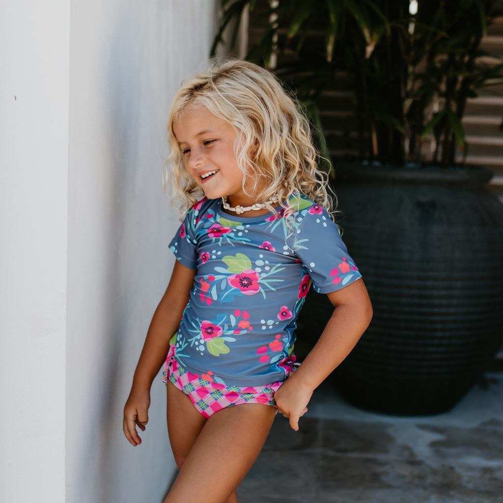 Gray and Green Floral Rash Guard Swimsuit