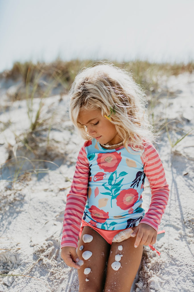 L.S. Coral Stripe Rash Guard Swimsuit