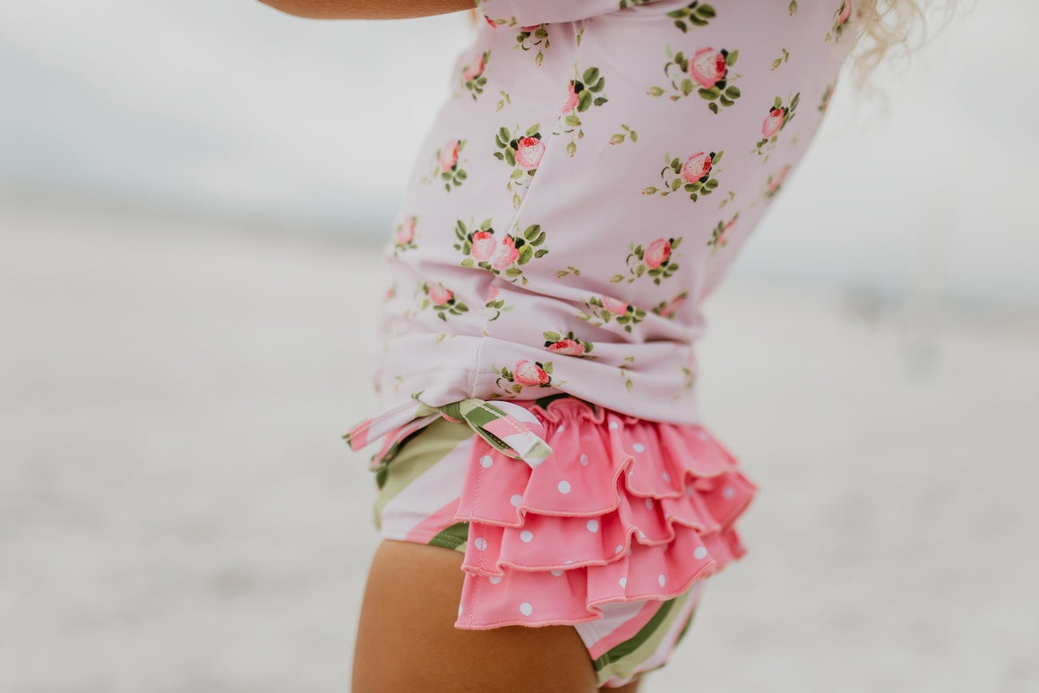 Light Pink Floral Rash Guard Swimsuit