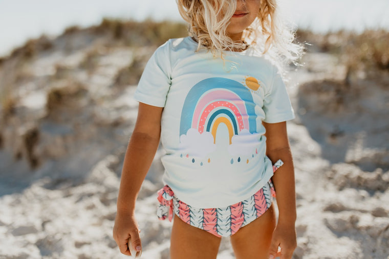 Mint Rainbow Rash Guard Swimsuit