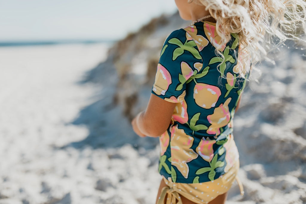 Mustard Floral Rash Guard Swimsuit