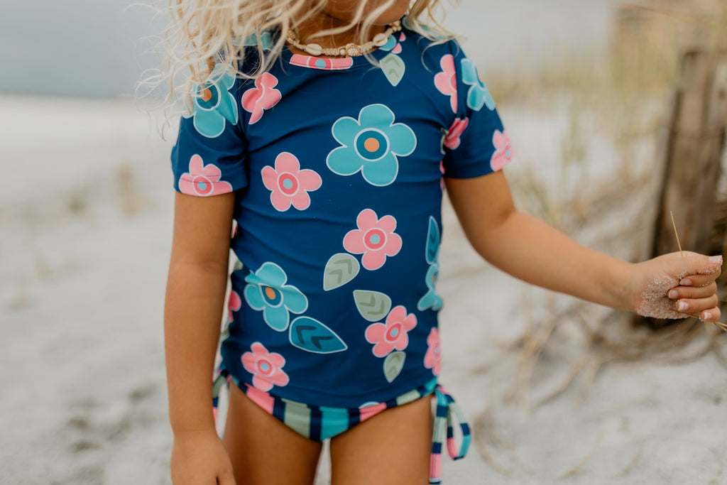 Pink and Blue Floral Rash Guard Swimsuit