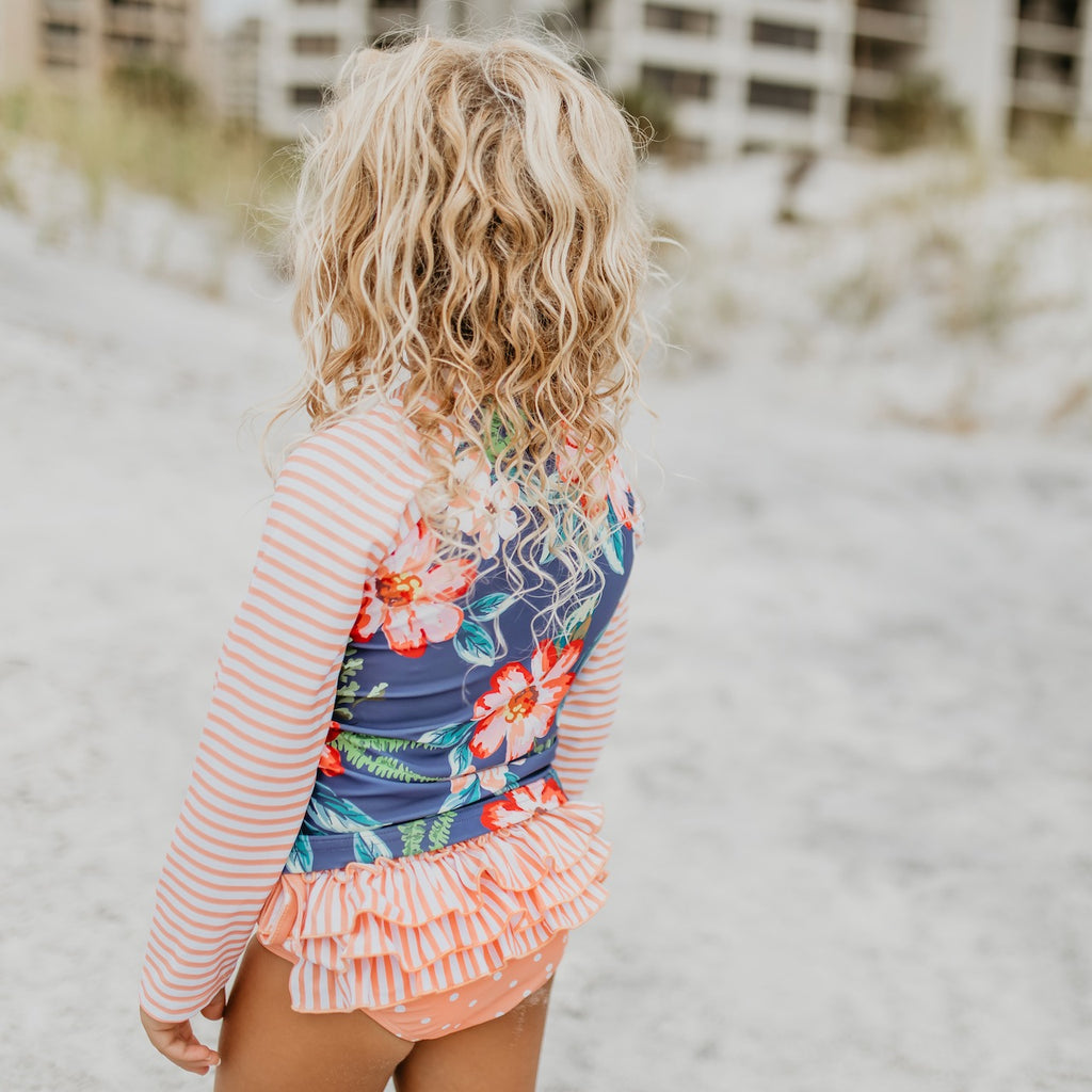 L.S. Peach Stripe Rash guard Swimsuit
