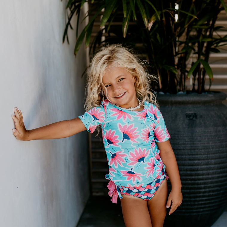 Teal Pink Rash Guard Swimsuit