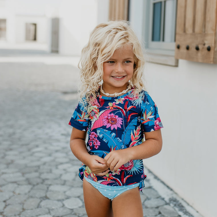 Tropical Rash Guard Swimsuit