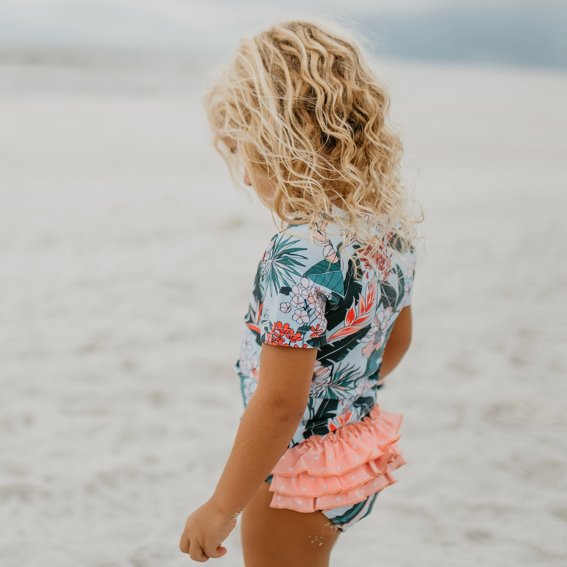 Peach Tropical Rash Guard Swimsuit