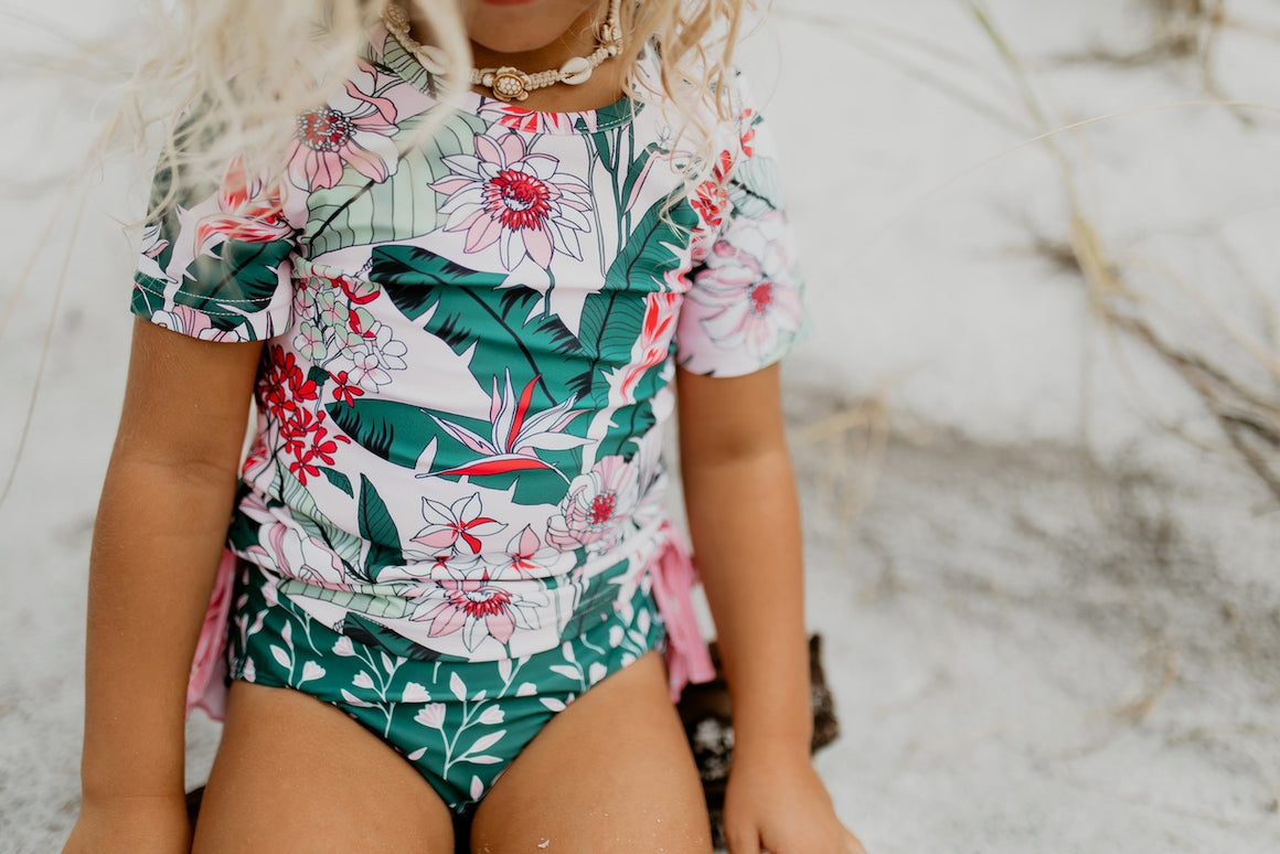 Tropical Green Rash Guard Swimsuit