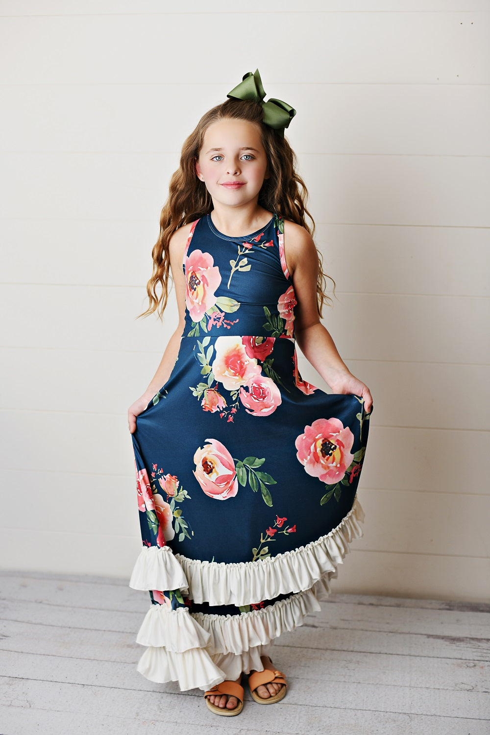 Navy Rose Ruffles Dress