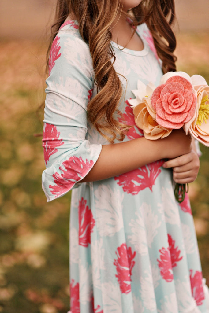 Teal Floral Girls Dress