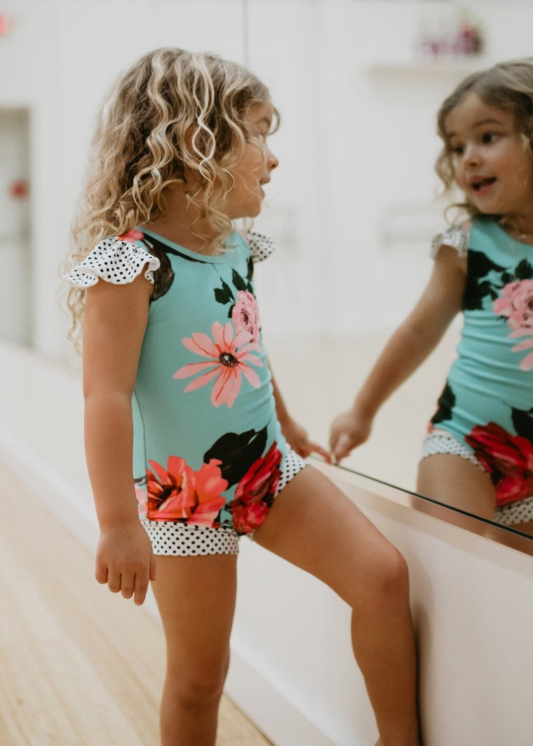 floral teal girls leotard