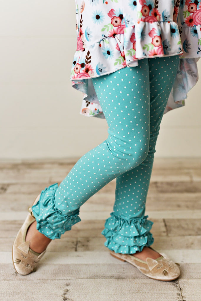 teal pin dot girls leggings