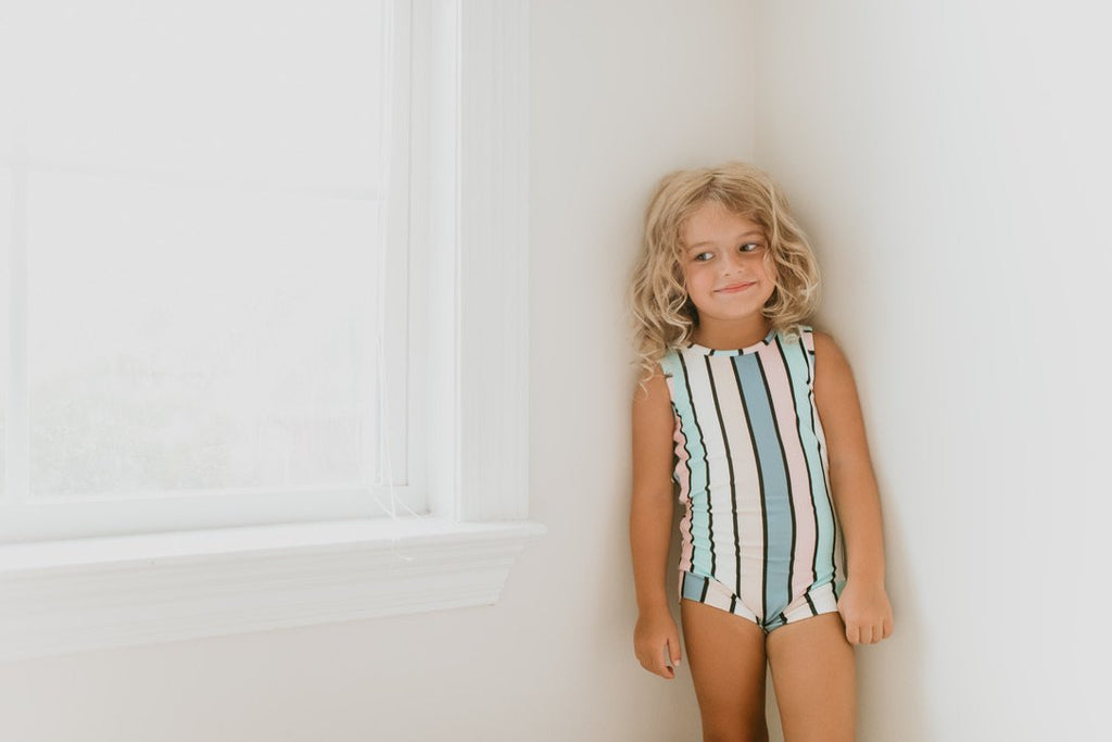 Pastel Stripe Sleeveless Leotard