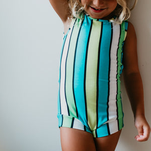 Teal Green Stripe Sleeveless Leotard