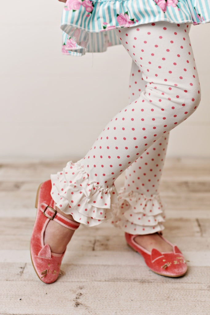 White pink polka dot leggings