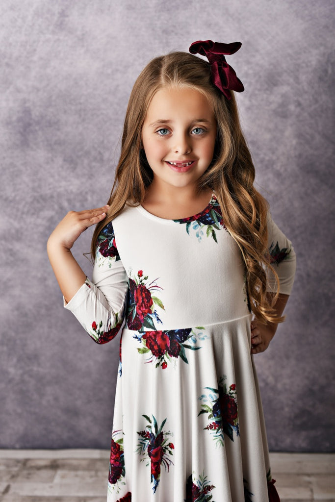 wine ruffles girls dress