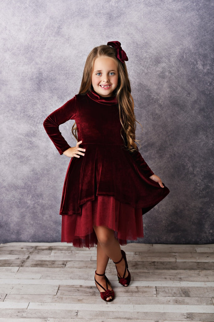 winter wine girls dress