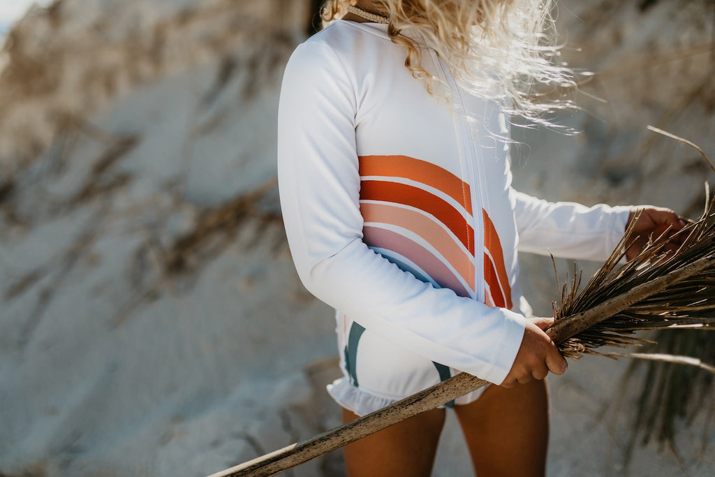 Rainbow Ecru Zip Rash Guard Swimsuit