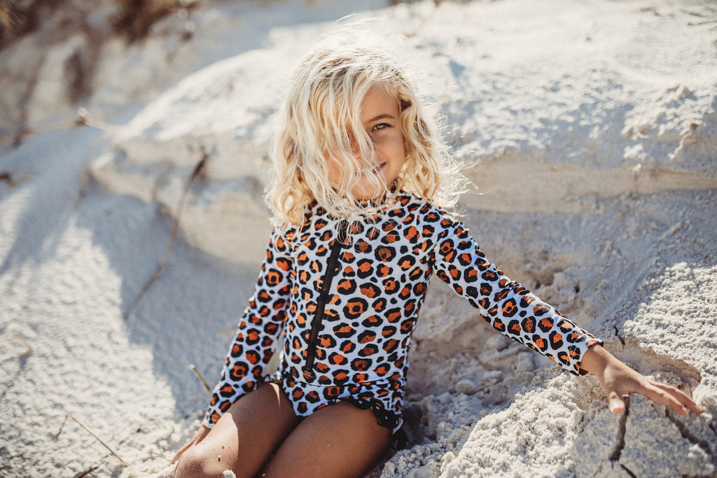 Leopard Zip Rash Guard Swimsuit