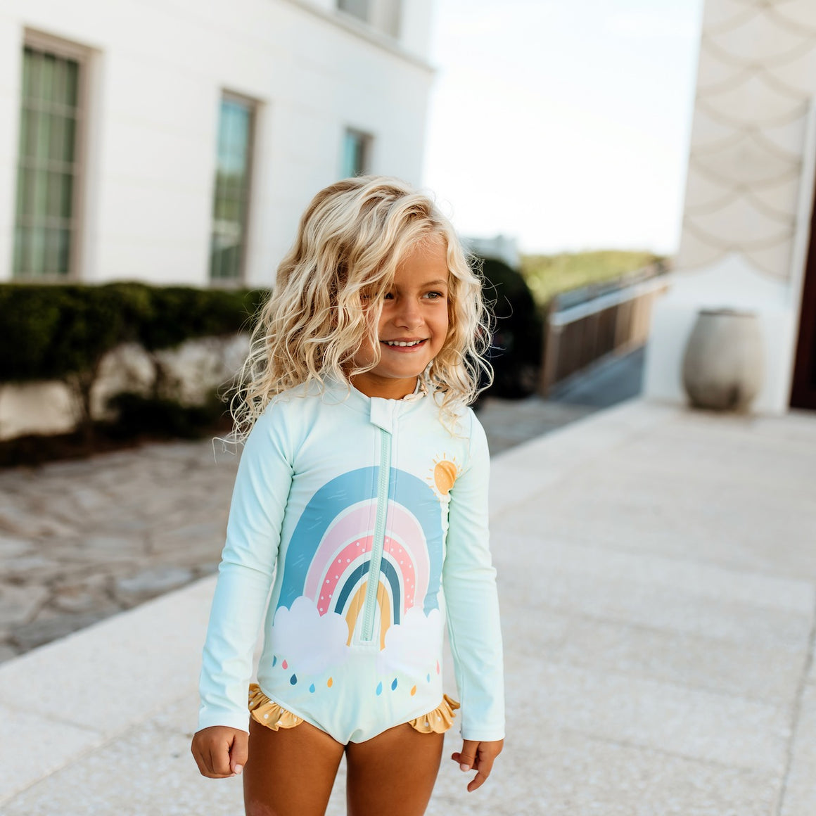 Rainbow Zip Rash Guard Swimsuit