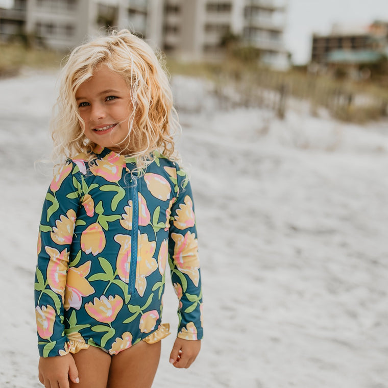 Mustard Teal Zip Rash Guard Swimsuit