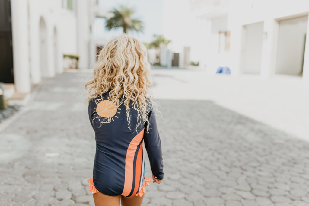 Rainbow Navy Zip Rash guard Swimsuit